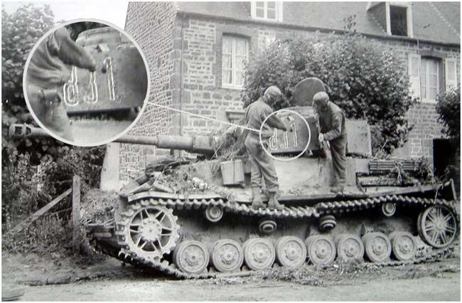 This Panzer IV belongs to II./SS-Pz.Rgt.2 and not to Pz.Rgt.3 ( Militaria H.S N.53 caption ).It was likely destroyed at Pontfarcy late july 1944 and captured by US soldiers... The 2.Pz digital 8 broader than DR number..