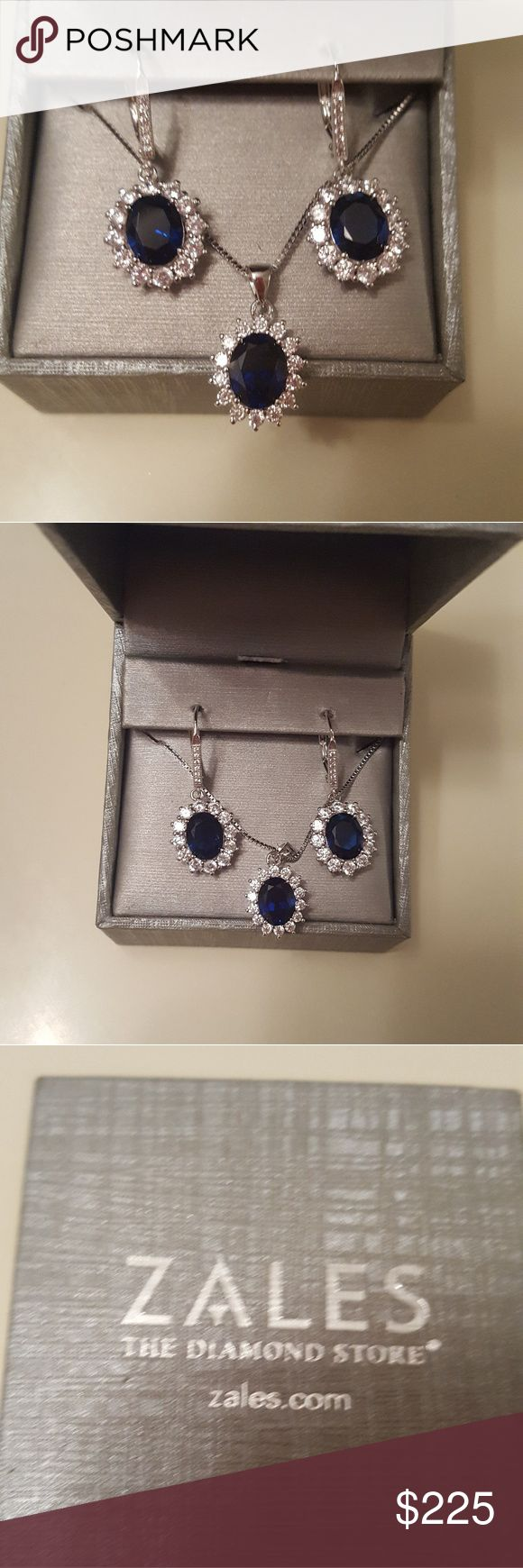 Nwt Sapphire Necklace & Earring Set From Zales This is a new Necklace & earring set from Zales. The Necklace is a 2k Sapphire oval shaped with 2k Sapphire earrings surrounded by small lab created diamonds.  The necklace is 18 inches long, the earrings are clasp earrings, stamped. Never worn, kept in safe. I dont know if i will sell here for my price, I will post more photos asap. Retail is $499 bought at $400, sale. PERFECT FOR XMAS FOR A SIGNIFICANT OTHER!!! Would like half for what I paid…