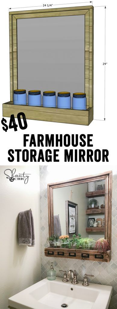 Super cute and cheap DIY Farmhouse Storage Mirror! So cute for the bathroom, kitchen or entry! Free Plans and video tutorial at www.shanty-2-chic.com