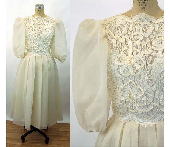 1980s ivory dress Victor Costa ribbon lace wedding dress sheer