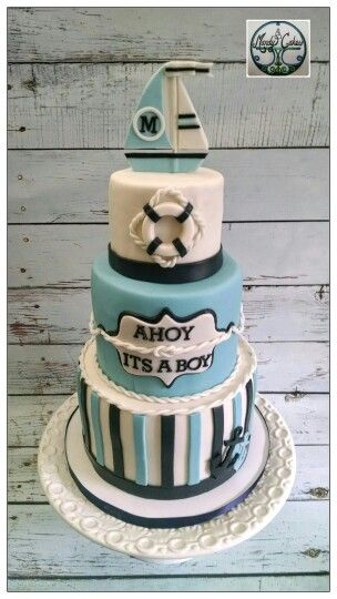 Nautical baby shower cake I made recently!
