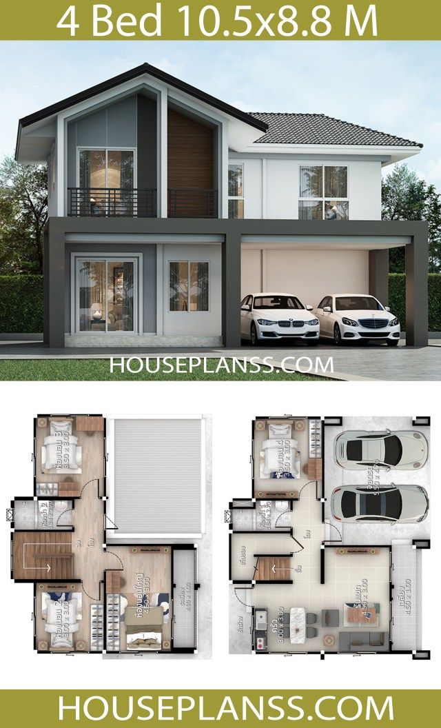 House Design Plans Idea 10 5x8 8 With 4 Bedrooms Home Ideassearch Model House Plan Architecture House Duplex House Plans