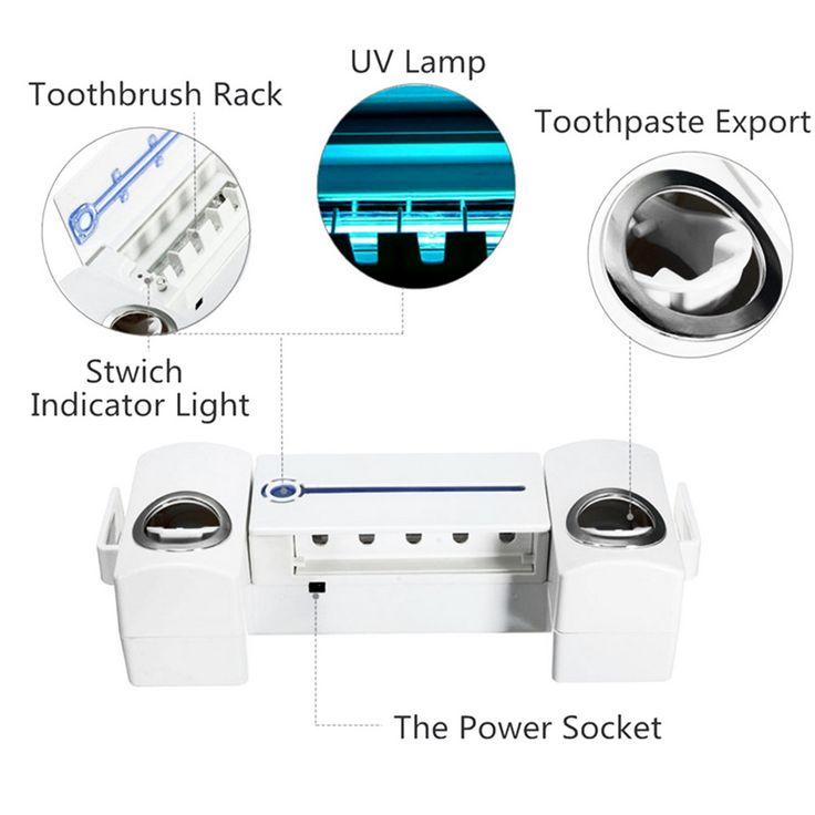 Ultraviolet Toothbrush Sterilizer Automatic Toothpaste Dispenser Washing and Brushing Set White - Tmart