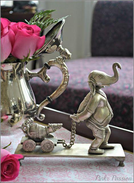 Ganesha collection, Indian Decor, Indian Inspired Décor, My home, Silver Ganesha, Ganesh vignette