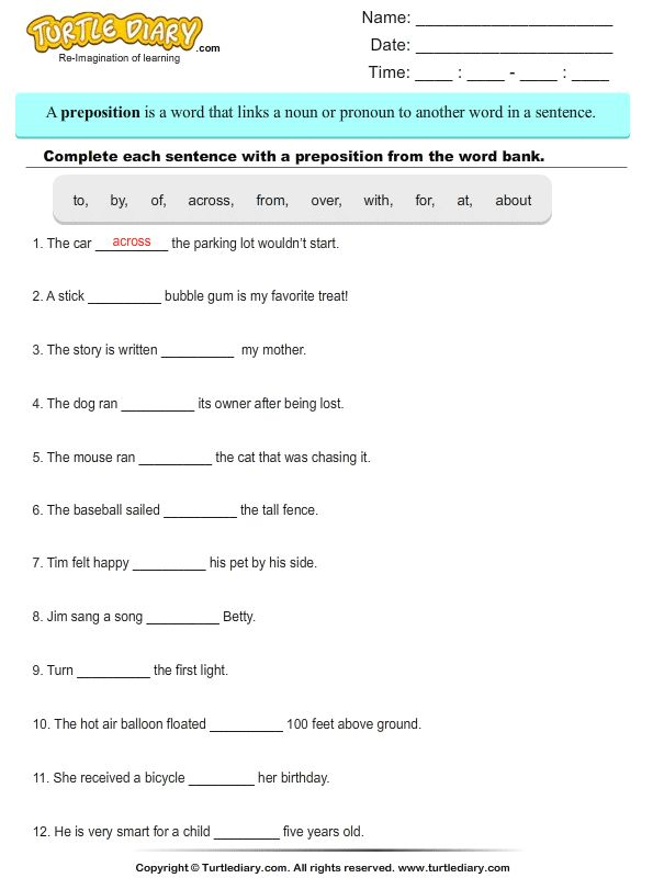 Preposition In Learn In Marathi All Complate: Choose The Preposition To Complete The Sentence