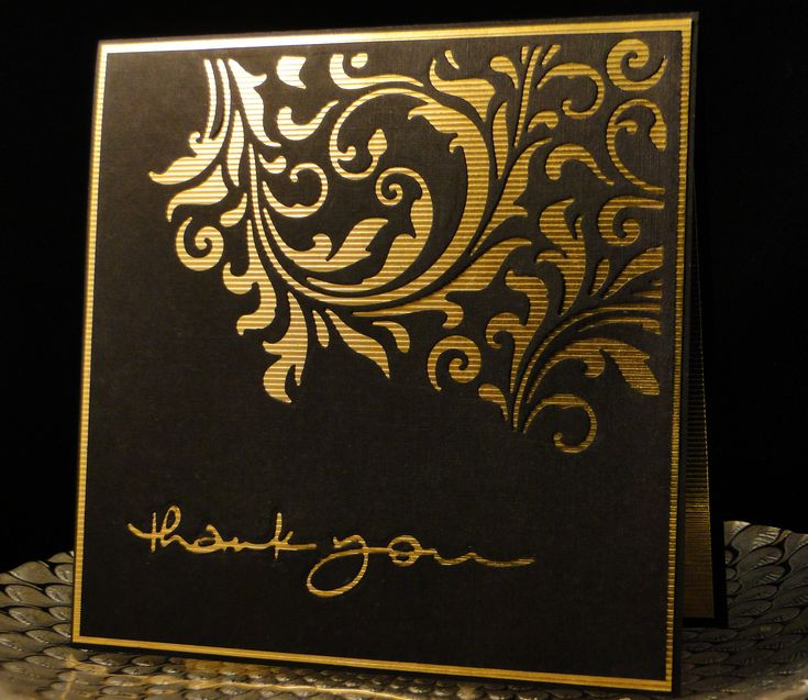 Thank You 2017 Tim Holtz die with Penny Black Thank You die. PB die cut into paper and pieces inlaid to complete it. I used gold lined metallic card stock and linen black card stock. Created by Peggy Dollar