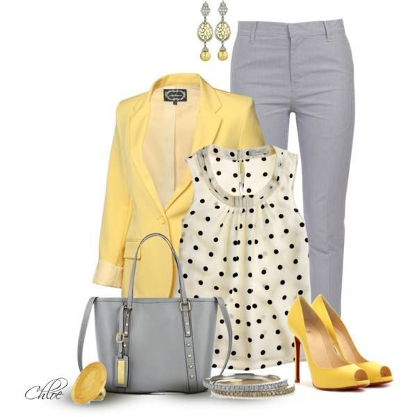 I love the combination of this shade of yellow and gray.  Heather grey skinnies, yellow blazer, white with black polka dots == sassy! find more women fashion on misspool.com