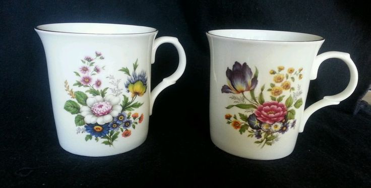2 Floral Coffee Mugs Fine Bone China Crown Trent