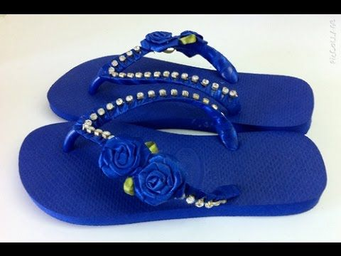 Chinelo decorado com fita e strass passo a passo - YouTube