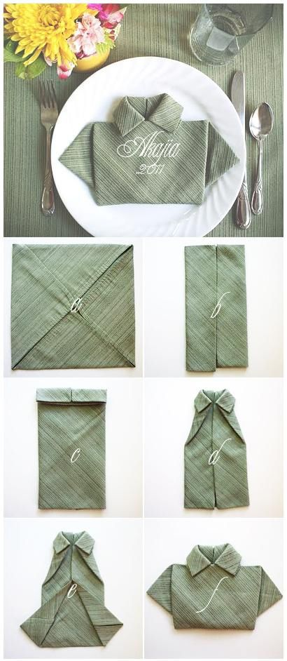 Diy shirt napkin fold napkin folding ideas for mothers day and folding nap - Pliage serviette chemise ...