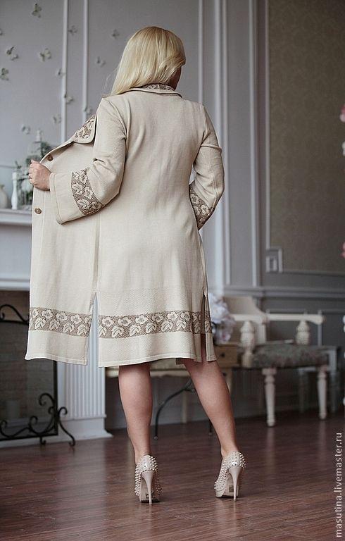 """Купить Пальто """"Лаконичность"""" - кремовый, вязаное пальто, пальто, летнее пальто, ажурное пальто, вискоза"""