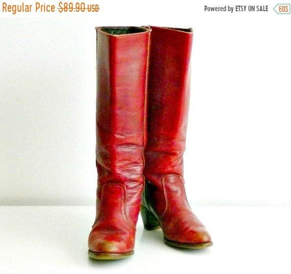e94ea0814aca4 Dexter Womens Western Boots, Vintage Tall Red Leather Boots, Stacked ...