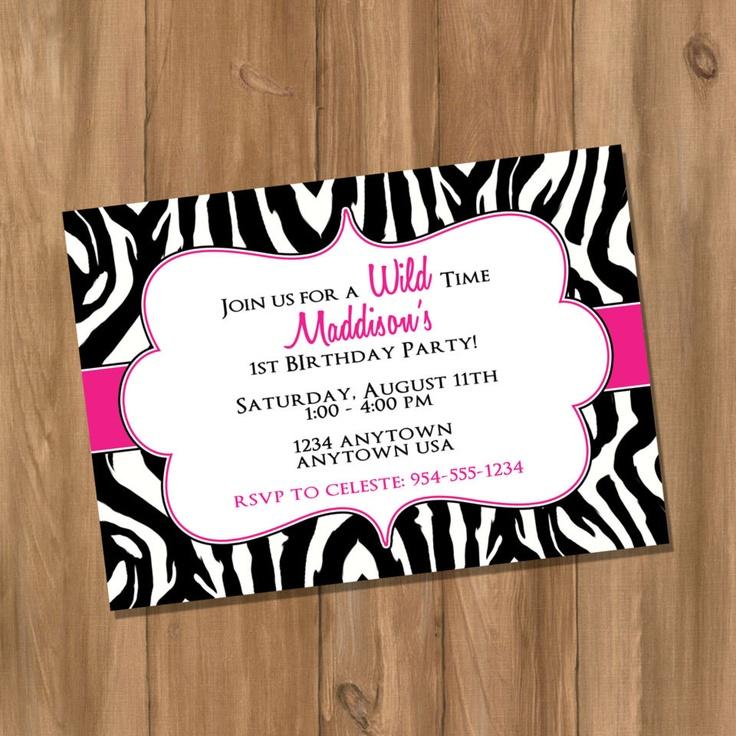 Pink Zebra Birthday Party Invitation (Digital - DIY). $10.00, via Etsy.