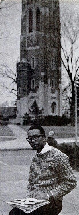 Ernest Green at Michigan Student University, c. 1961.  Ernest Green, the eldest of the Little Rock Nine and the the first blackstudent to graduate from Little Rock Central High School. Green went onto graduate from Michigan State University with a B.A. in 1962 an M.A. in1964