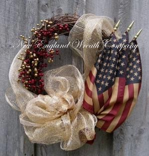 Americana Wreath, Fall Wreath, Autumn Wreaths, Patriotic, Fourth of July Wreath, Tea Stained Flag Wreath by toni