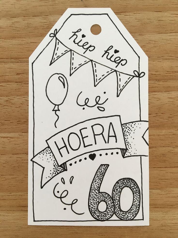 Label voor cadeau handlettering verjaardag 60 hoera door Anique