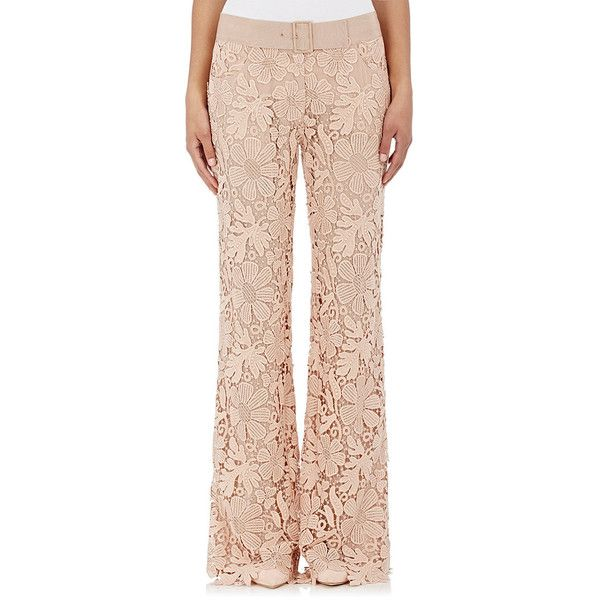 Alberta Ferretti Women's Floral Lace Trousers ($1,349) ❤ liked on Polyvore featuring pants, multi, flower print pants, zip pants, wide leg pants, floral wide leg pants and floral print wide leg pants