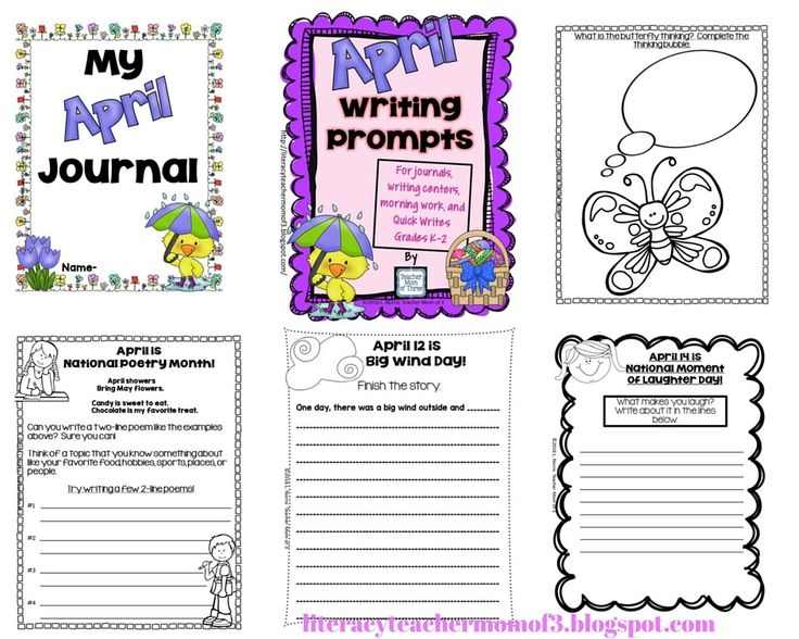 Writing prompts for April! Use these creative writing prompts for journals, Quick Writes, writing centers, and for morning work. Various writing purposes that celebrate special days in April.