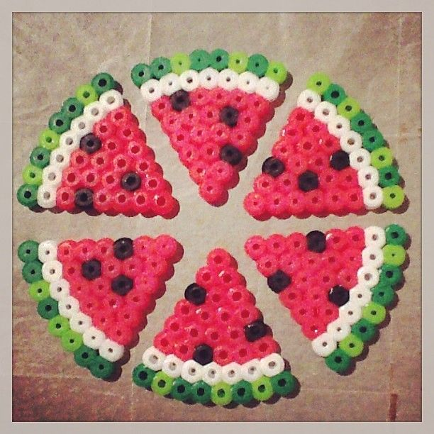 Watermelon slices hama perler beads by ashleyeglidewell