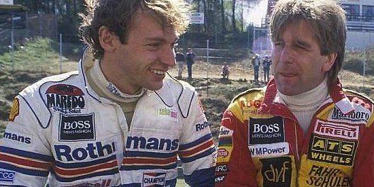 Starben viel zu früh: Stefan Bellof (l.) und Manfred Winkelhock beim Formel-1-Rennen am 28. April 1984 in Zolder.