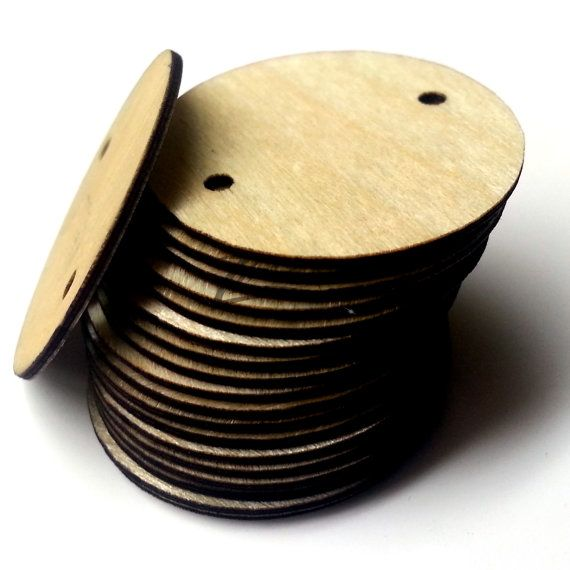 Fresh  THIN x Wooden Circle mm Holes Craft Disc