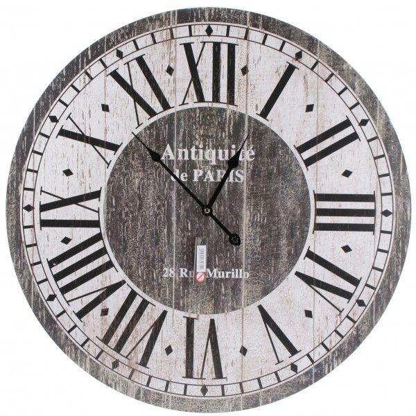 Landelijke grijze wandklok met verweerde print Diameter: 60 cm
