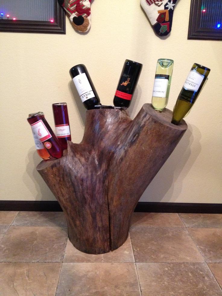 Tree stump wine rack.