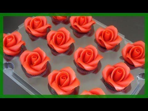 Fondant Rosen - wie vom Konditor - Rosen einfach selber modellieren- von Kuchenfee - YouTube