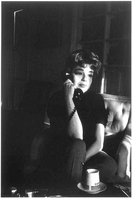 French actress, Simone Signoret, Paris. Photographed by Gisèle Freund, 1963.