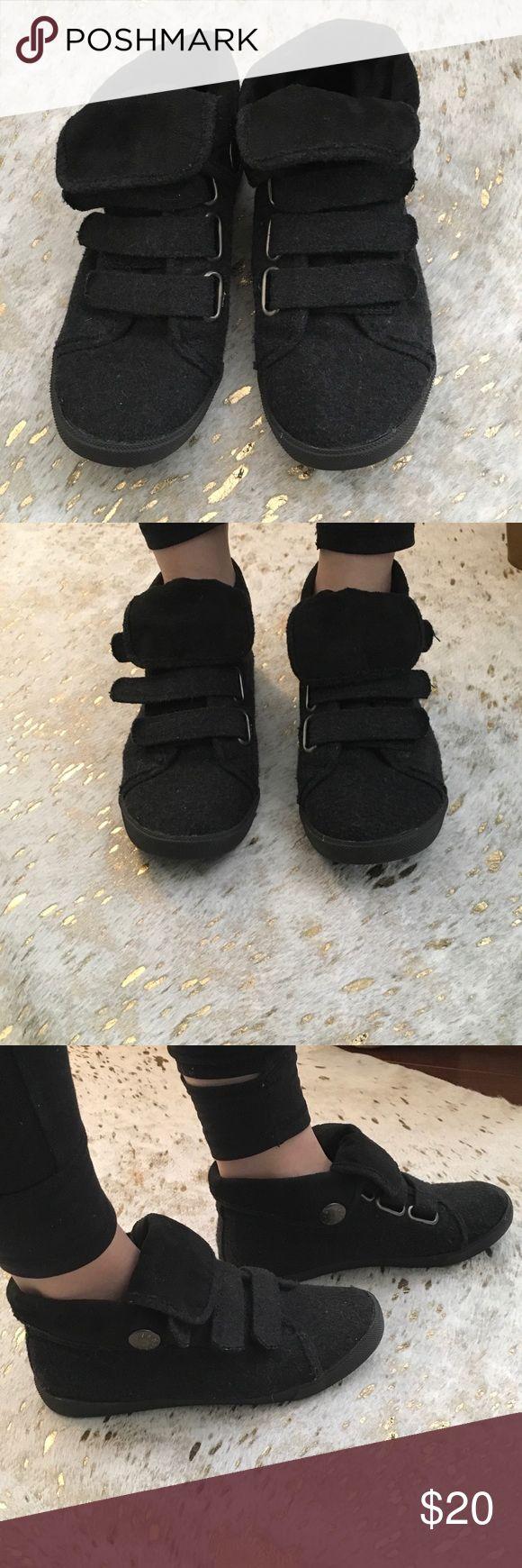 Blowfish sneakers Dark grey wool velcro Blowfish sneakers, worn twice in excellent condition! Size 6 Blowfish Shoes Sneakers
