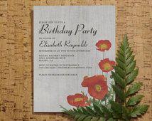 Винтаж Маки Приглашения на день рождения | сюрприз на день рождения приглашает | печати, цифровой, формат PDF, Сделай сам шаблон или напечатано, мальчик/девочка карточек