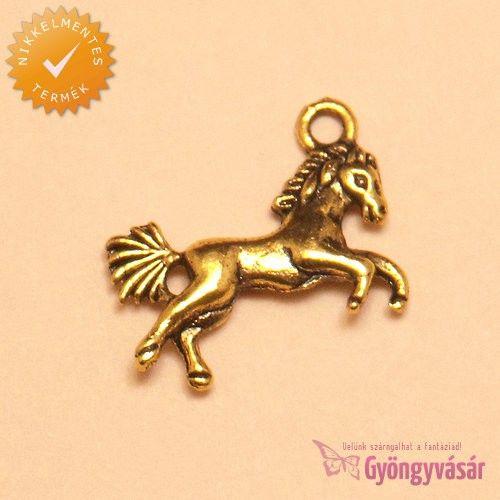 Aranyszínű paripa - nikkelmentes fém zsuzsu / fityegő • Gyöngyvásár.hu