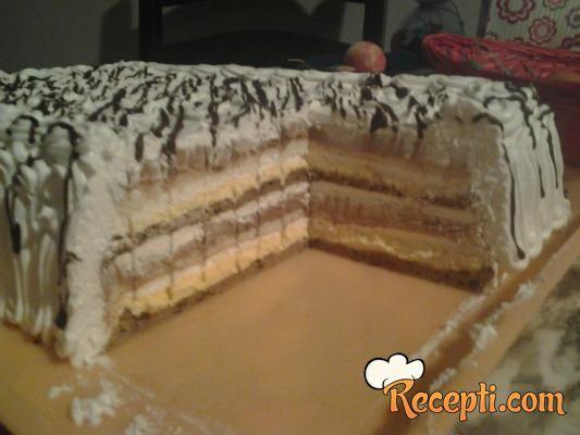 Recept za Kremisimo tortu. Za spremanje torte neophodno je pripremiti belanca, šećer, sirće, griz, jaja, čokoladu, kakao, margarin, keks, šlag.