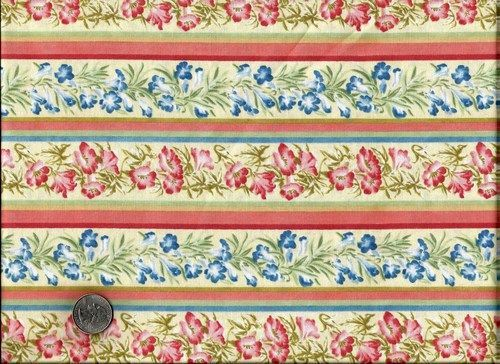 Cotton Quilt Fabric Rhapsody In Bloom Floral Stripe Cream  - product image