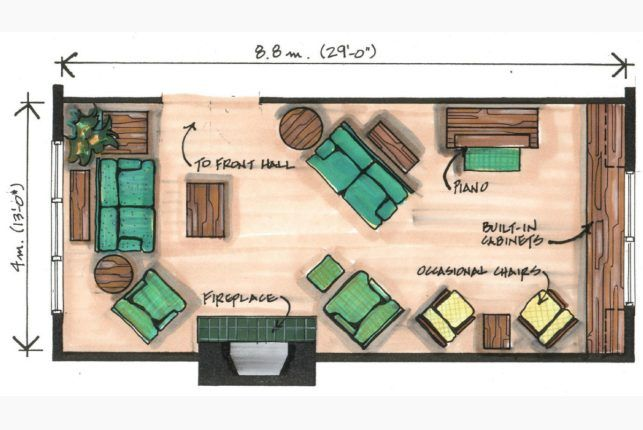 Angled furniture arrangements works best in narrow room