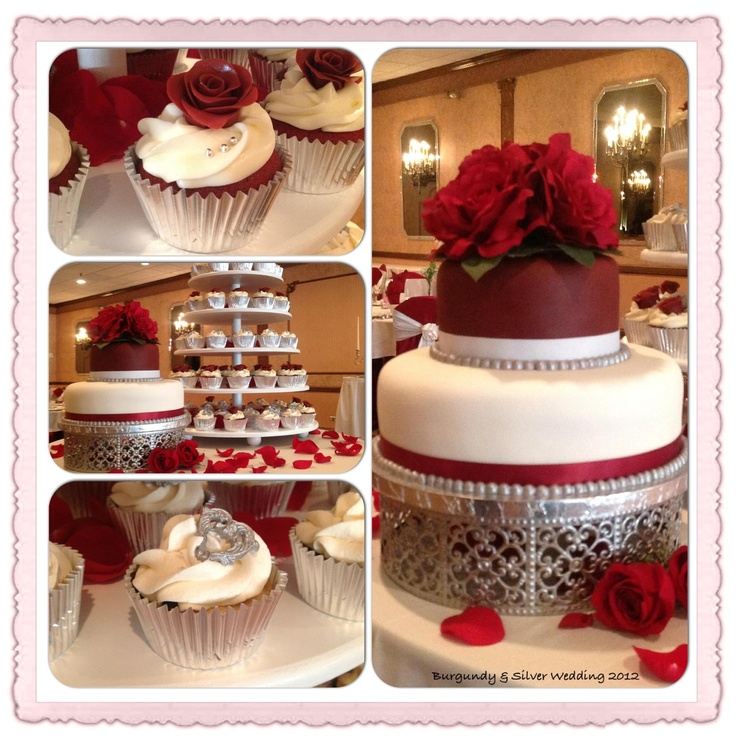Burgundy And Silver Wedding Cake And Cupcakes Cheryl S