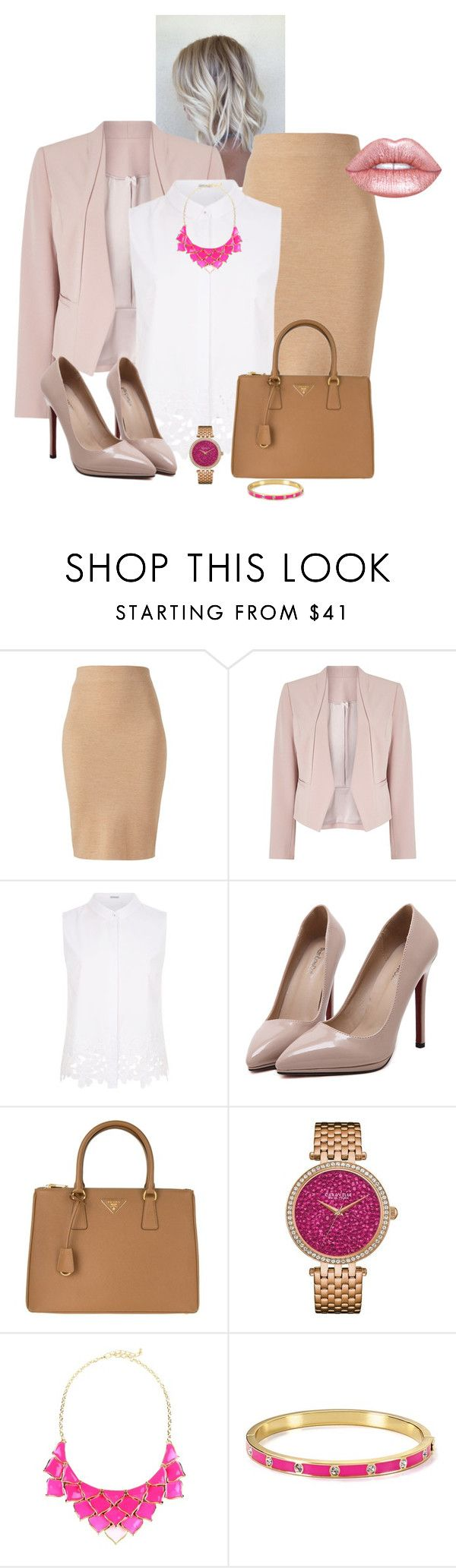 """""""trabalho"""" by daianetavares310 ❤ liked on Polyvore featuring Winser London, Jacques Vert, Elie Tahari, WithChic, Prada, Caravelle by Bulova, George J. Love, Kate Spade and Lime Crime"""