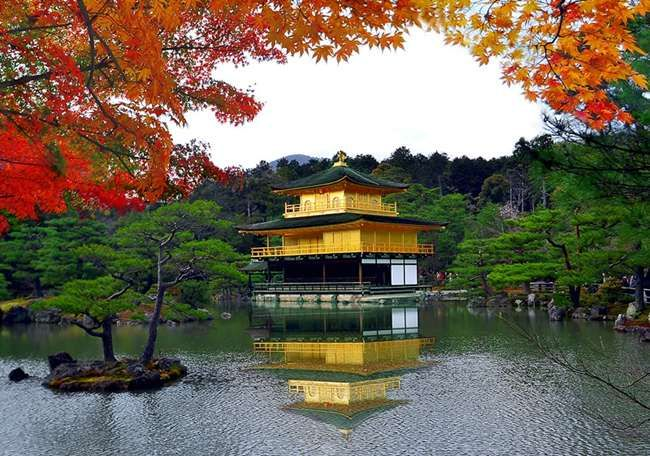 Kinkakuji or Temple of the Golden Pavilion is one of Japan's best known sights which is a Zen Buddhi