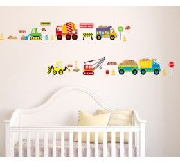 Construction Cars wall sticker available at www.kidzdecor.co.za. Free postage throughout South Africa