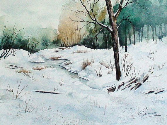 "Excited to share the latest addition to my #etsy shop: Giclee watercolour print titled ""Winter panorama"", winter scene, snow, 8 x 10 http://etsy.me/2mTpeBI #art #print #giclee #winterlandscape #snow #ukrainianartist #quebecartist #wintertrees #gicleeprint"