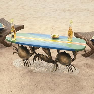 Crab Surfboard Table | yard art | sculpture | gift