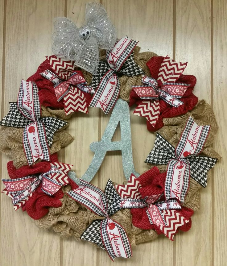 Bama Roll Tide Burlap Wreath with deco mehg elephant Custom-made $50  #University of Alabama #Crimson #Football #Roll tide #gift #Wreath