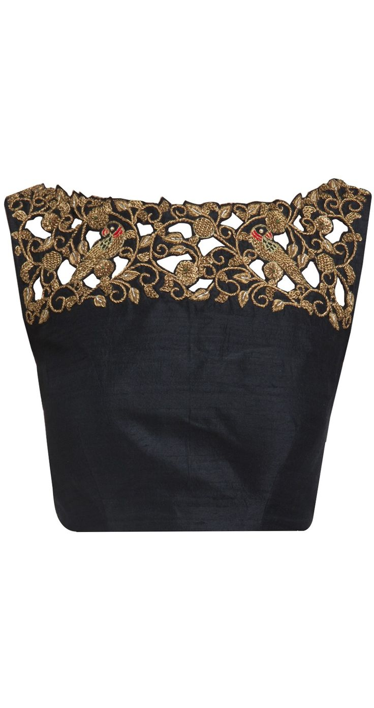 Brocade laced blouse on the top; pair with a chiffon/net saree for the chic look