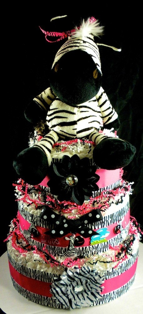 3 tier Girl Zebra Diaper Cake Baby Shower by mylittleangelco, $110.00............... so wish I had this at my shower for Kynzie!!! Its amazing!!!
