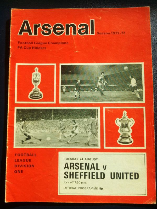 Arsenal v Sheffield Utd Football Programme 24/08/1971 Listing in the First Division Fixtures,1970-1979,League Fixtures,English Leagues,Football (Soccer),Sports Programmes,Sport Memorabilia & Cards Category on eBid United Kingdom