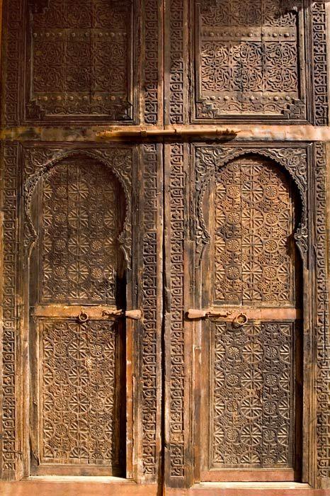 Africa | Handsomely carved doors, Belghazi family museum, north of Sale. Morocco. © Daniel Nadler