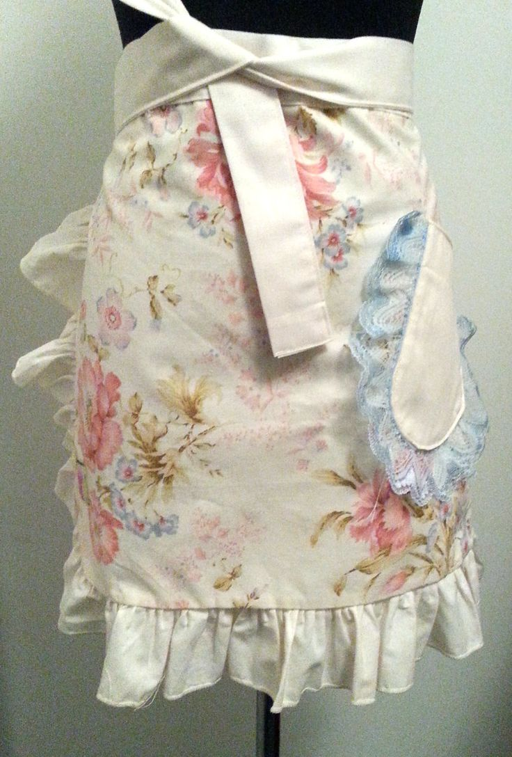 Pink Galah Upcycled Half Apron - 'Sweet Peonie' with self band and lace trimmed pocket. by PinkGalahAprons on Etsy