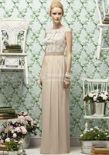 Column Bateau Neck Lace Bodice Chiffon Floor-length Bridesmaid Gowns