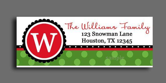 Christmas Monogram Labels Printable or Printed by