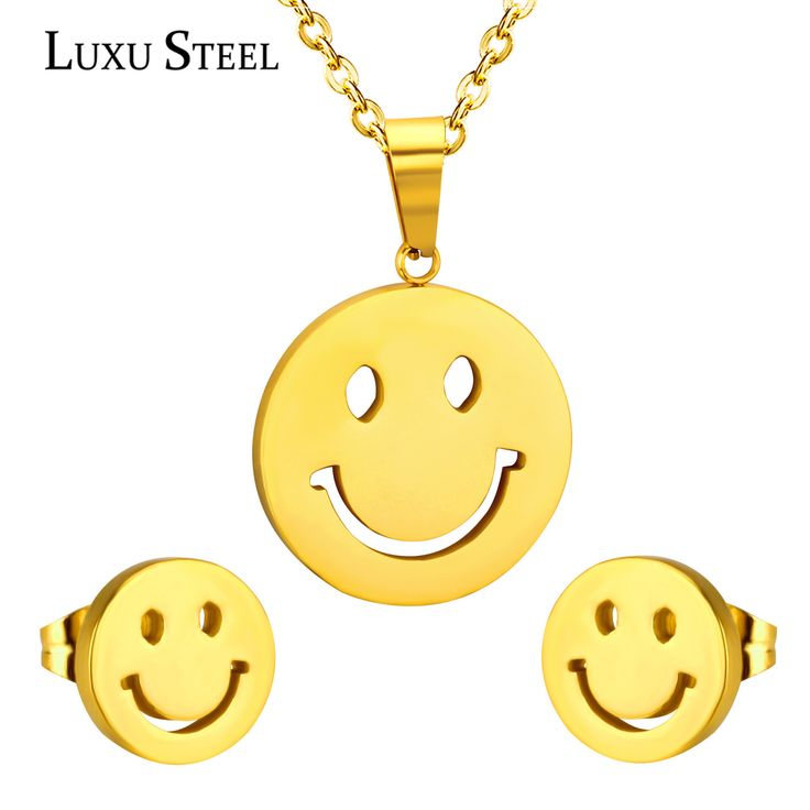 Emotion Smile Face Pendant Necklace Chain Stainless Steel Gold Plated For Women Smiling Jewelry Accessories With Free Chain